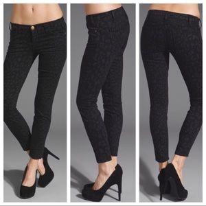 "Current/Elliott ""The Stiletto"" Black Leopard Jeans"
